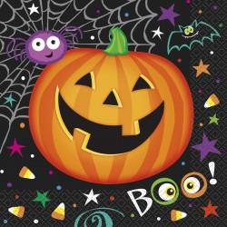 16 serviettes en papier Halloween Citrouille