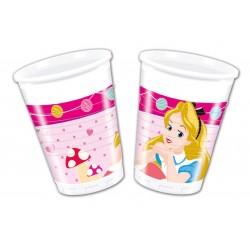 8 gobelets plastique Alice aux pays des merveilles