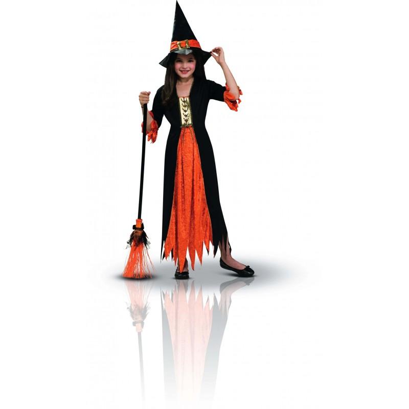 Déguisement sorcière noir et orange 5-7 ans