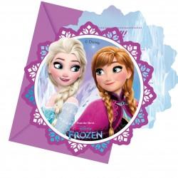 6 invitations Reine des Neiges en carton + 6 enveloppes violettes
