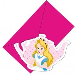 6 cartes invitations + enveloppes Alice au pays des merveilles
