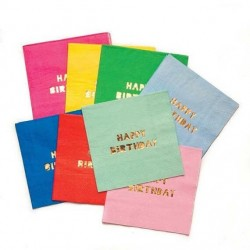 16 serviettes en papier multicolores Happy Birthday