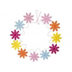 Guirlande feutrine Flocons de neige multicolores