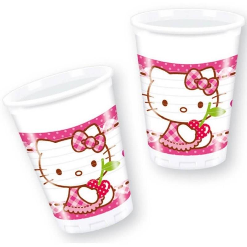8 Gobelets plastique Hello Kitty