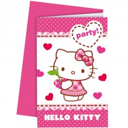 6 Invitations anniversaire Hello Kitty