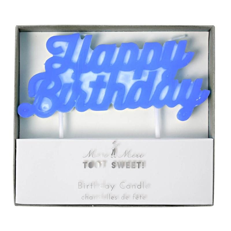 Bougie Happy Birthday bleue Meri Meri