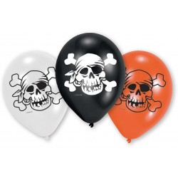 6 Ballons latex Pirate Tête de mort