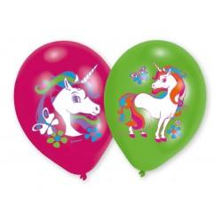 6 ballons latex Licorne 4 couleurs