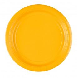 8 assiettes jetables jaunes 22,8 cm