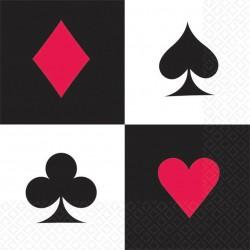 16 serviettes en papier Casino et Poker