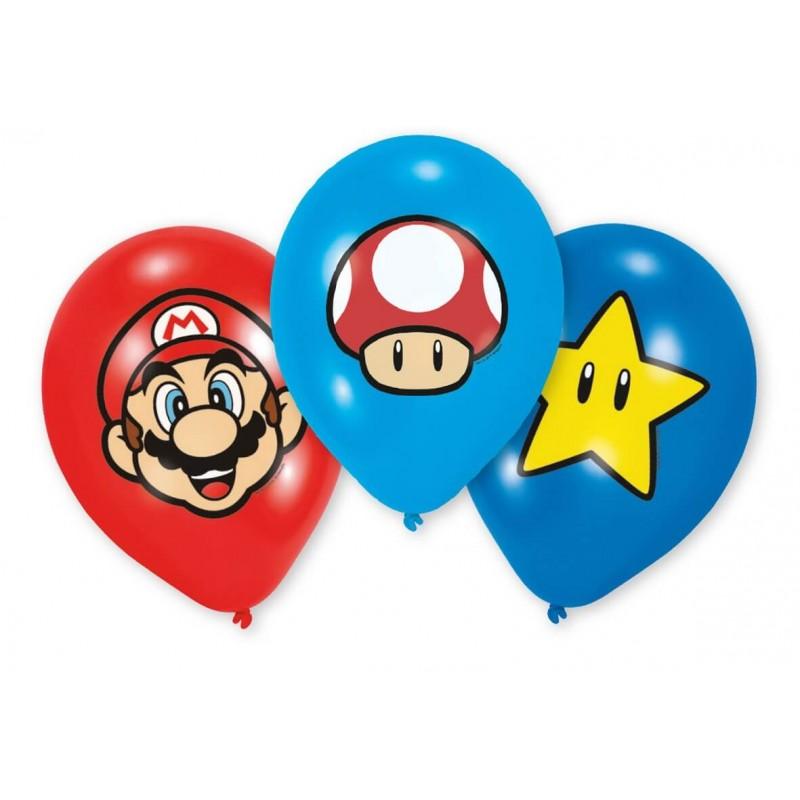 6 ballons Super Mario en latex imprimés couleurs