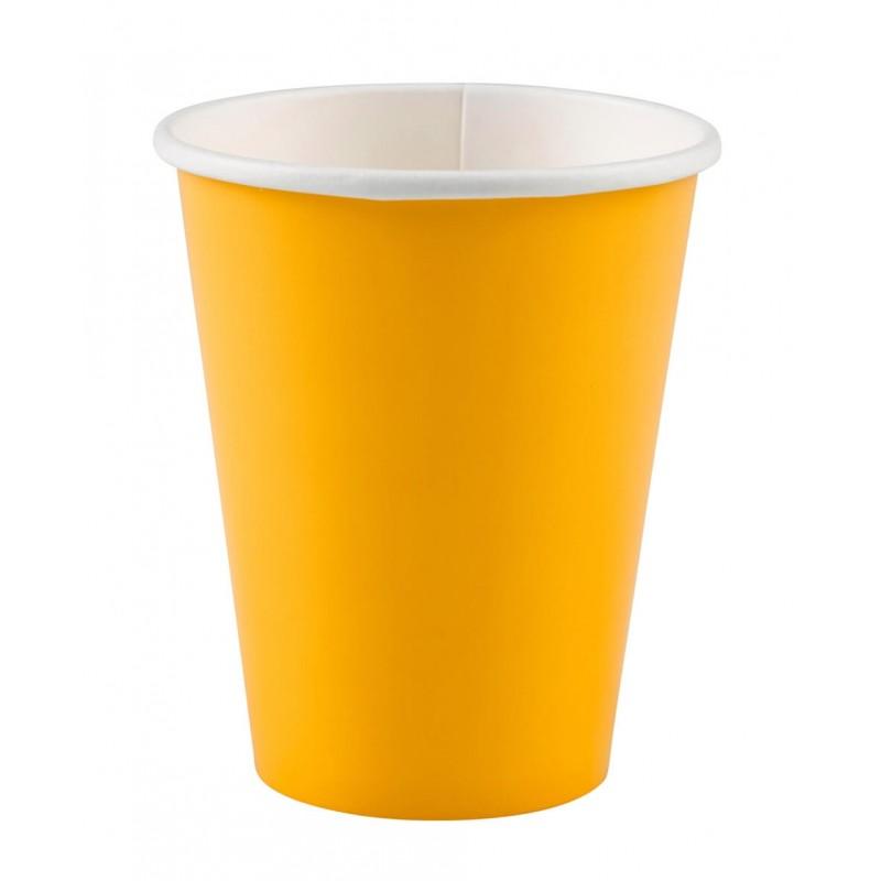 8 gobelets jaunes en carton