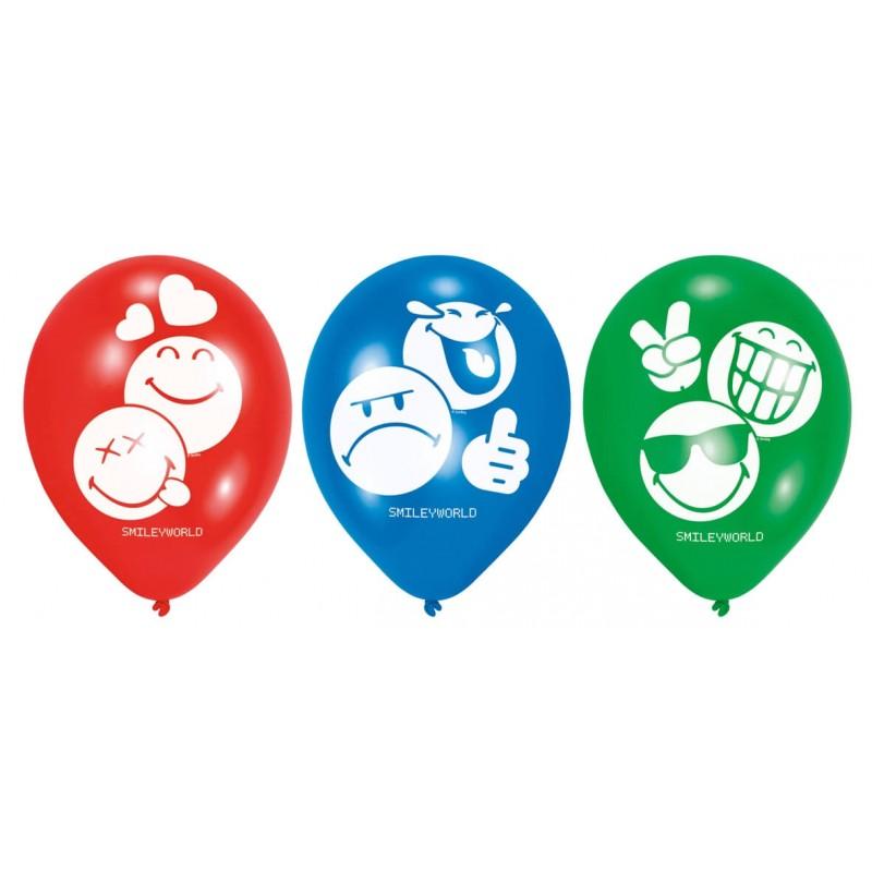 6 ballons Emoji en latex 30 cm
