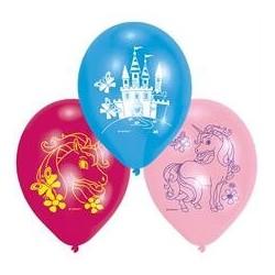 6 ballons latex Licorne 23 cm