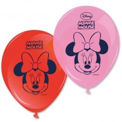 8 ballons en latex Minnie rouge et rose
