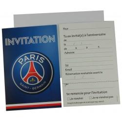 6 invitations anniversaire PSG Foot