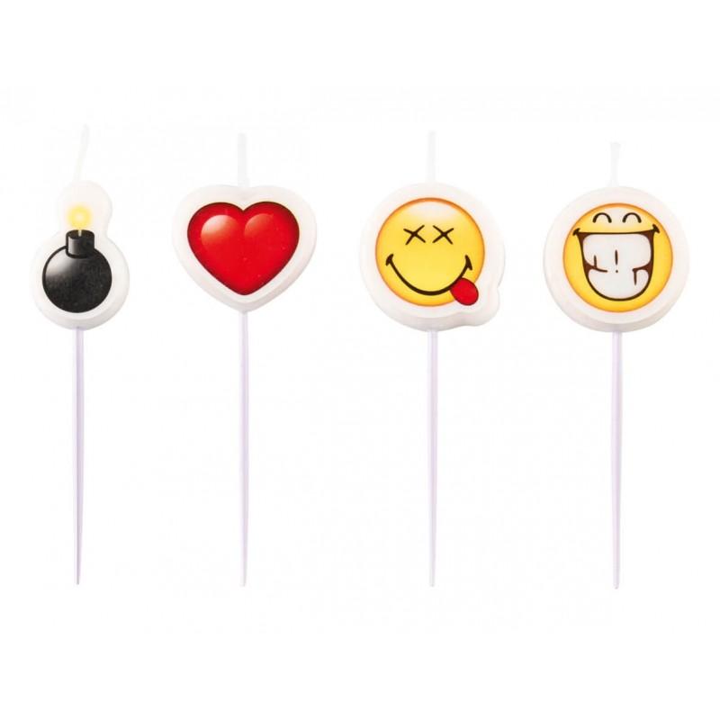 4 bougies d'anniversaire Smiley Emoji