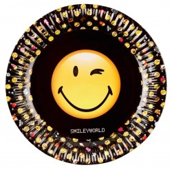 8 assiettes carton Smiley
