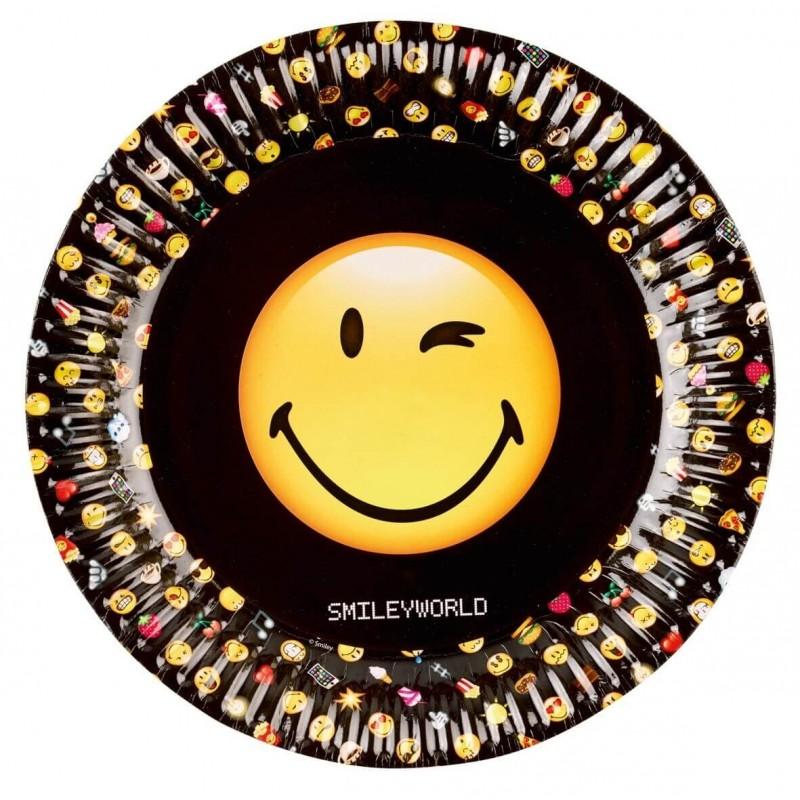 8 assiettes en carton Smiley 23 cm
