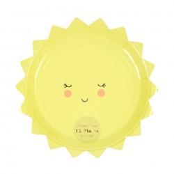 12 Petites assiettes en forme de soleil - Meri Meri