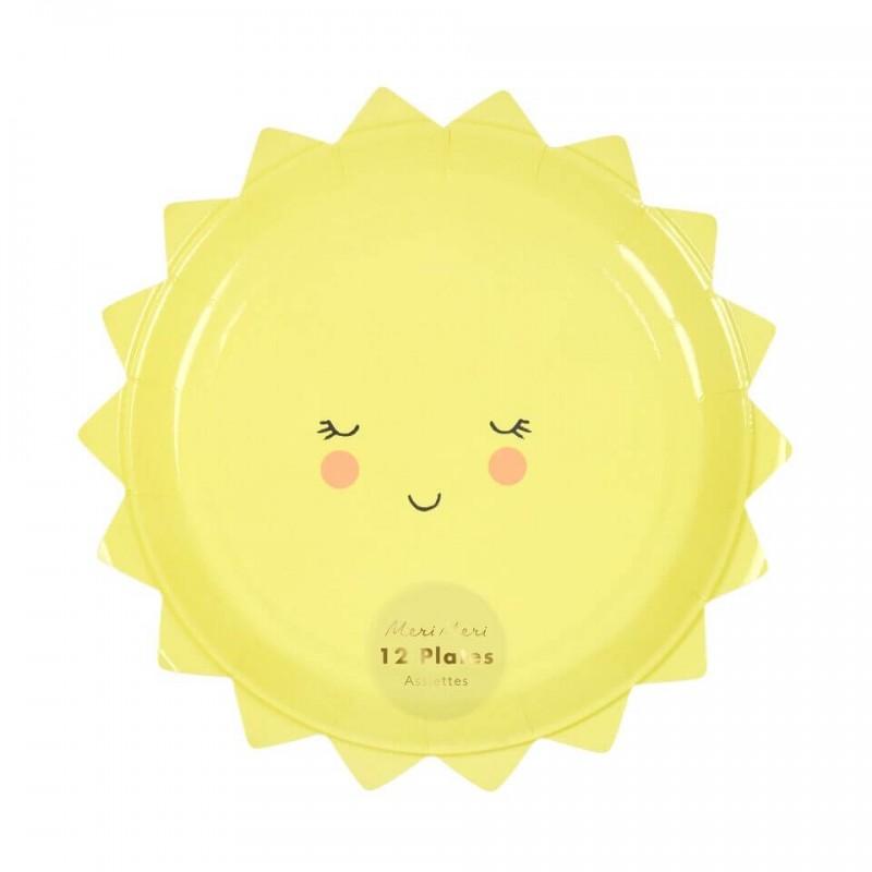 12 Petites assiettes en forme de Soleil