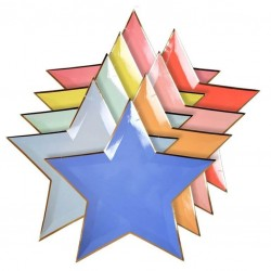8 Petites assiettes multicolores en forme d'étoiles
