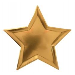 8 assiettes en formes d'étoiles couleur or