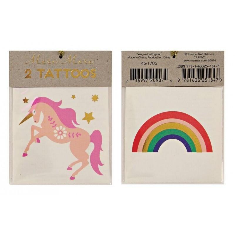 tatouages licorne et arc-en-ciel Meri Meri