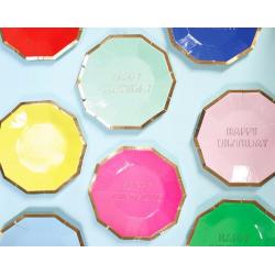8 assiettes multicolores Happy Birthday - Meri Meri