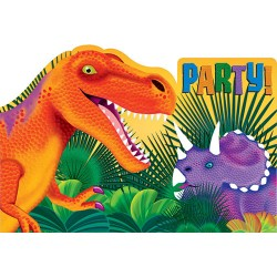 8 cartons d'invitations Dinosaure