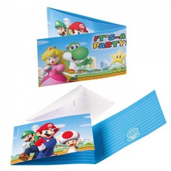 8 cartons d'Invitation Super Mario