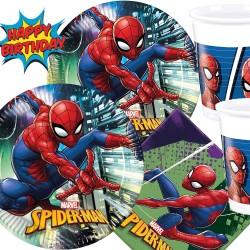 Vaisselle fête Anniversaire Spiderman pour 8 enfants (36 pièces : 8 Assiettes, 20 serviettes, 8 gobelets )