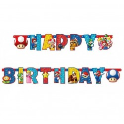 Guirlande Super Mario Lettres Happy Birthday - 190 cm