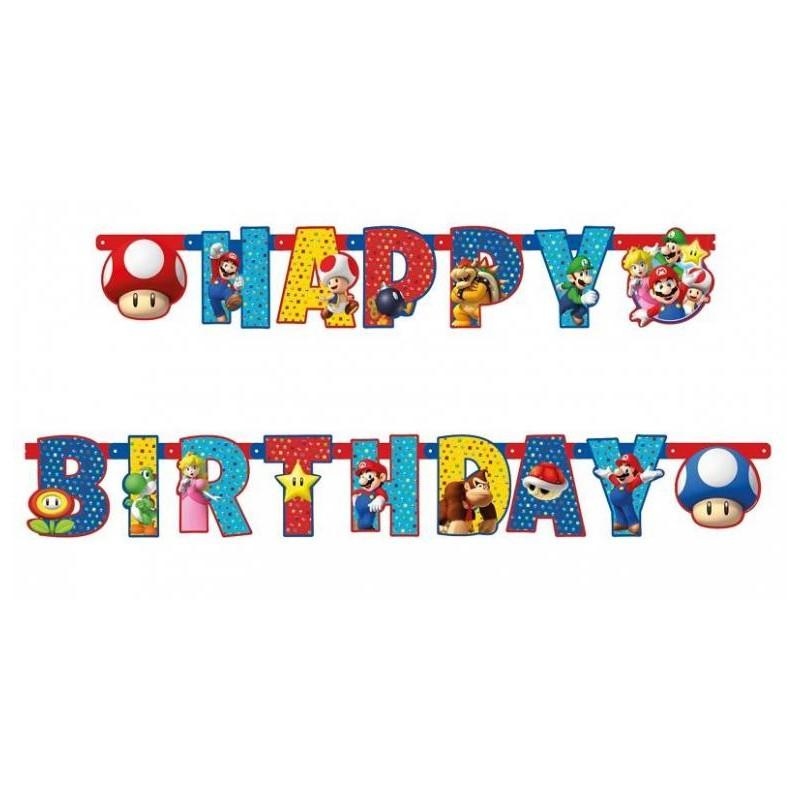 Guirlande Super Mario Lettres Happy Birthday - 190 cm
