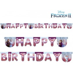 Guirlande en carton Happy Birthday Reine des Neiges 2 - 200 x 16 cm