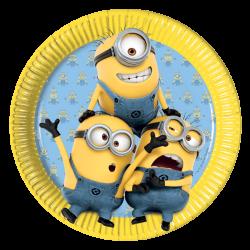 8 assiettes en carton Les Minions 23 cm