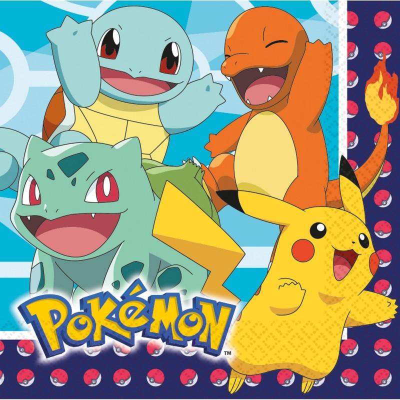 16 serviettes en papier Pokemon 33 x 33 cm