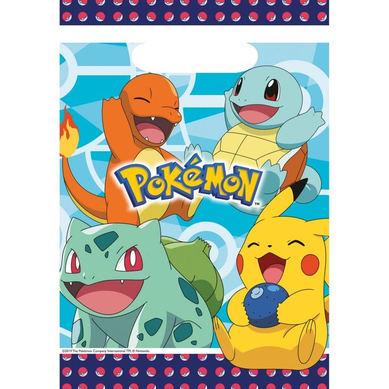 8 sacs cadeaux en plastique Pokemon
