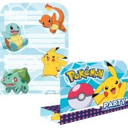 8 Invitations anniversaire Pokemon + 8 enveloppes