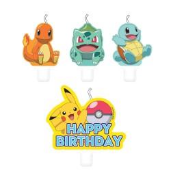 Bougie anniversaire : 4 bougies Pokemon