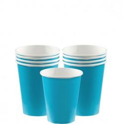 8 Gobelets carton bleu turquoise