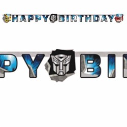 Guirlande en carton Happy Birthday Transformers™ 190 x 18 cm