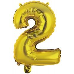 Ballon chiffre 2 doré 35 cm