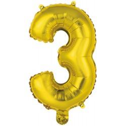 Ballon chiffre 3 doré 35 cm