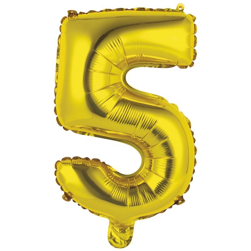 Ballon chiffre 5 doré 35cm