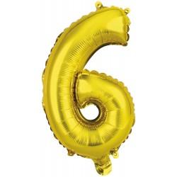 Ballon chiffre 6 doré 35 cm