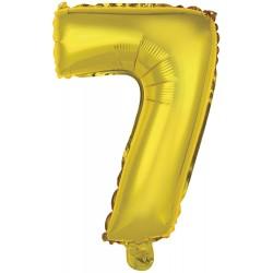 Ballon chiffre 7 doré 35 cm