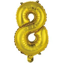 Ballon chiffre 8 doré 35 cm