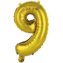 Ballon chiffre 9 doré 35 cm