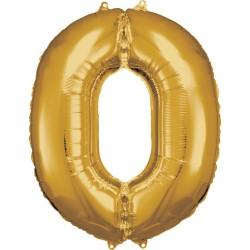 Ballon géant chiffre 0 doré